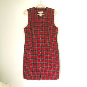 Vintage Eddie Bauer Red Wool Blend Plaid Dress 10